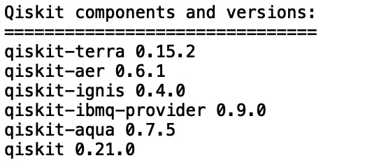 Figure 1.2 – A list of the Qiskit® components and versions