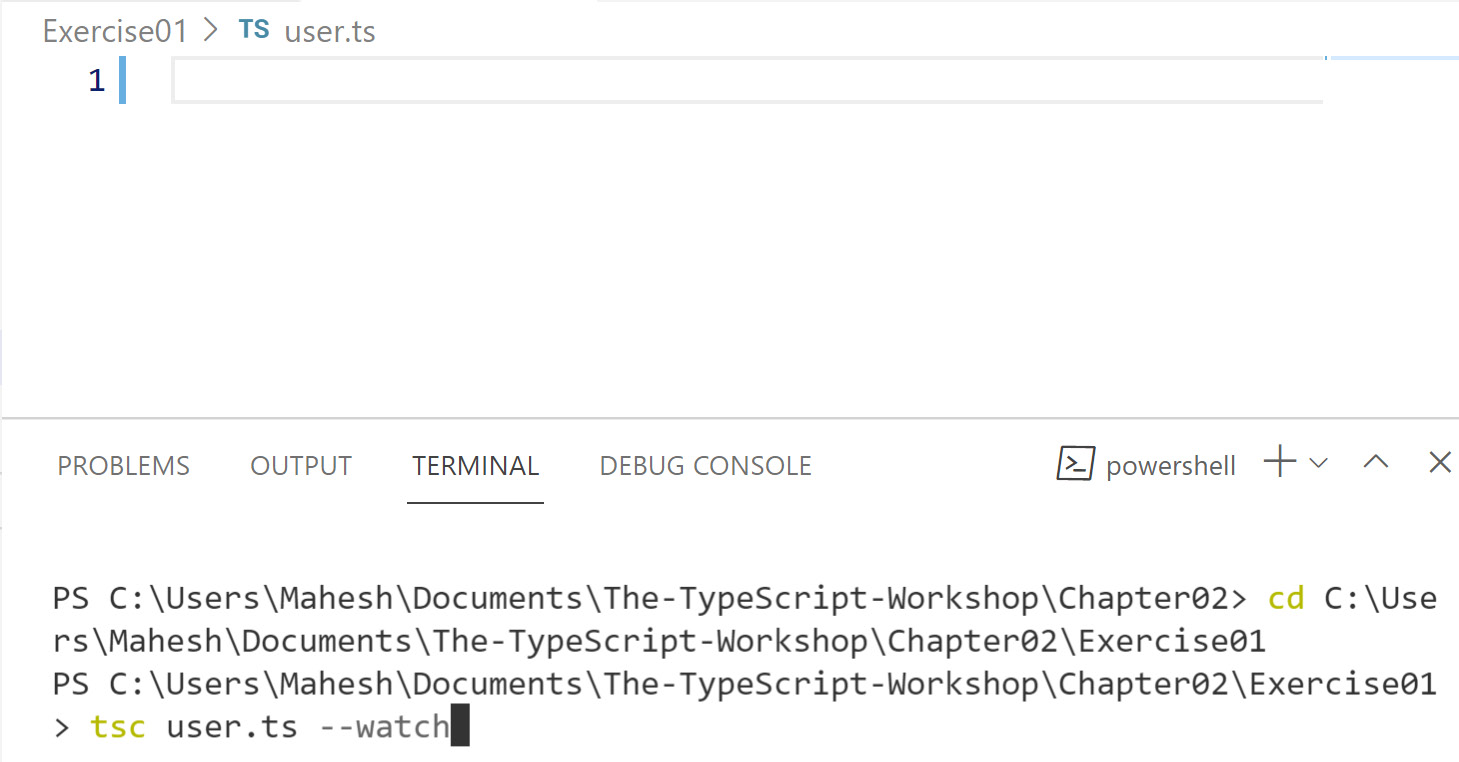 Figure 2.3: Running the TypeScript compiler with the watch flag