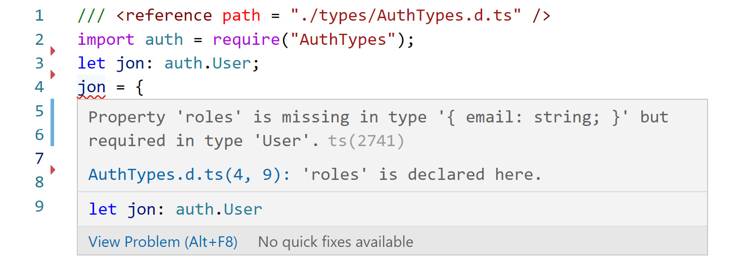Figure 2.9: TypeScript showing the required attributes for an object