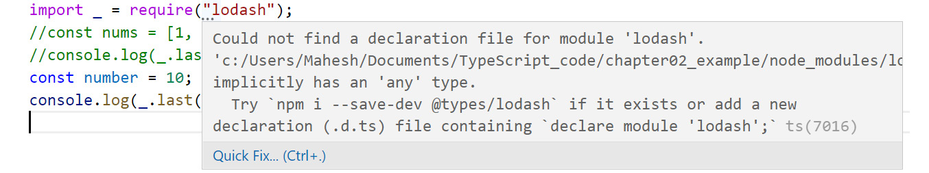Figure 2.15: TypeScript recommending to install Lodash types from DefinitelyTyped