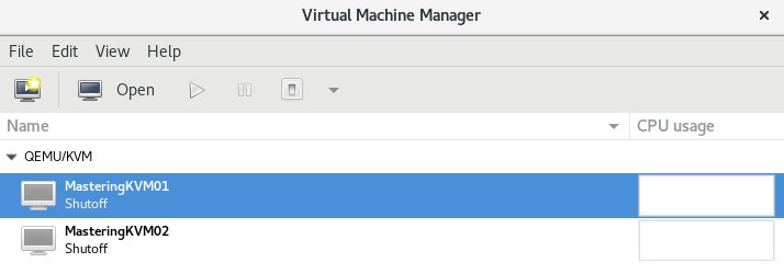 Figure 3.13 – The virt-manager GUI – we can see the list of registered  virtual machines and start managing them