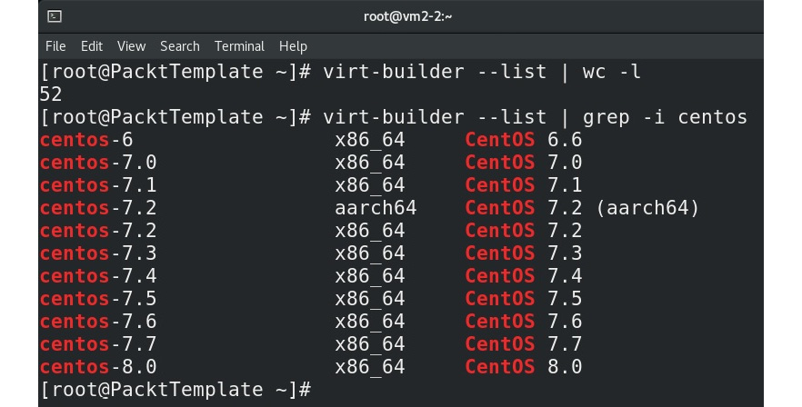 Figure 8.24 – virt-builder supported OSes, and CentOS distributions