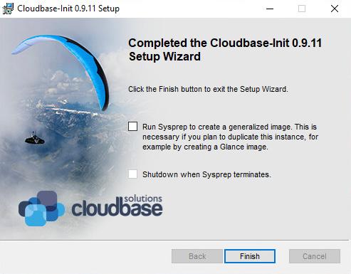 Figure 10.3 – The cloudbase-init installation wizard finishing up