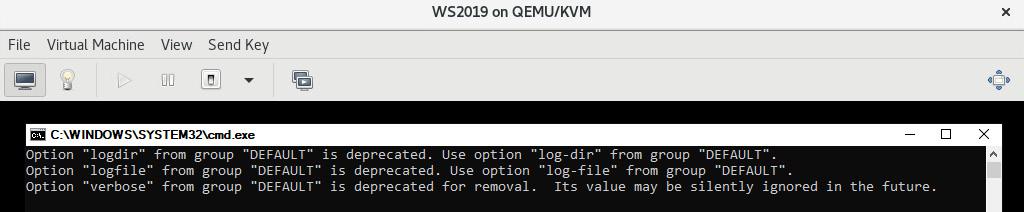 Figure 10.4 – cloudbase-init complaining about its own default configuration file options