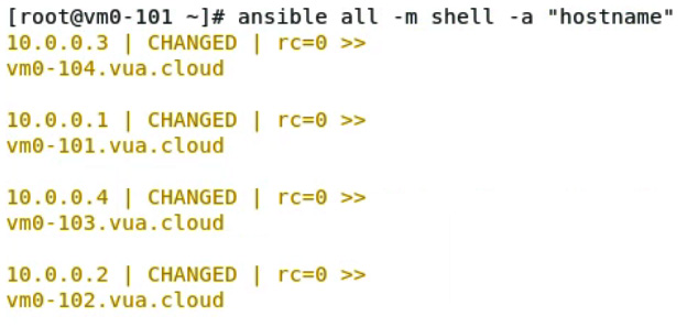 Figure 11.19 – Using Ansible to explicitly execute a specific command on Ansible targets