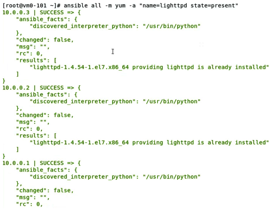 Figure 11.22 – Using Ansible to check the service state after service installation