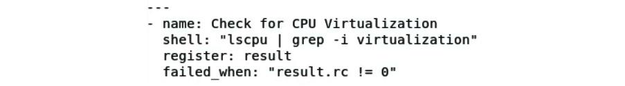 Figure 11.24 – Checking for CPU virtualization via the lscpu command