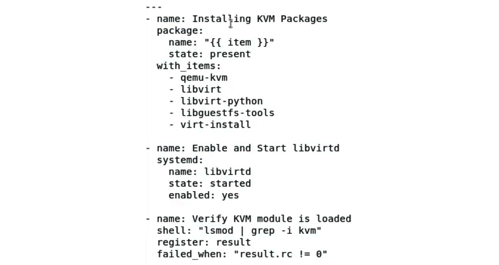 Figure 11.25 – Ansible task for installing the necessary libvirt packages