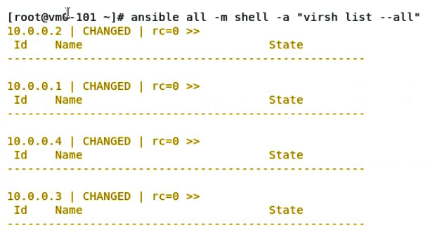 Figure 11.28 – Using Ansible to check all the virtual machines on Ansible targets