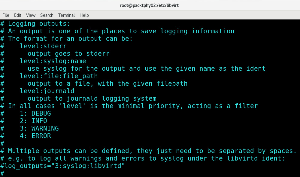 Figure 16.3 – Logging outputs options in libvirtd.conf