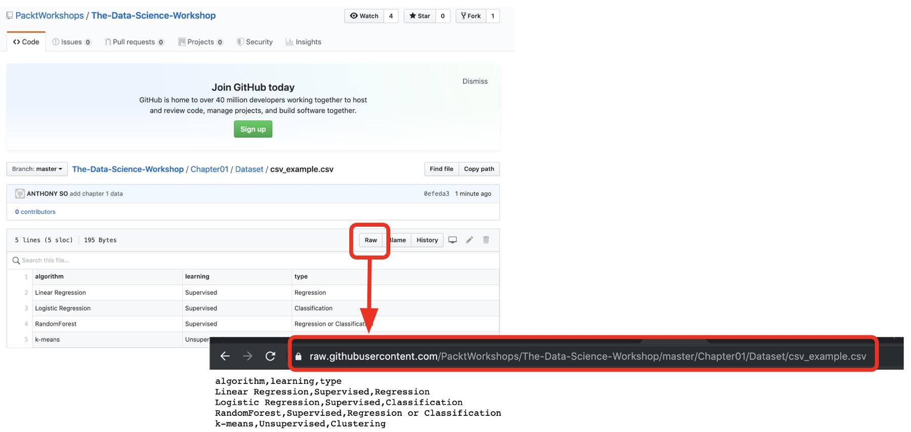 Figure 1.30: Getting the URL of a raw dataset on GitHub