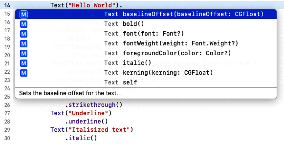 Figure 1.5 – Using Xcode autocomplete to view formatting options
