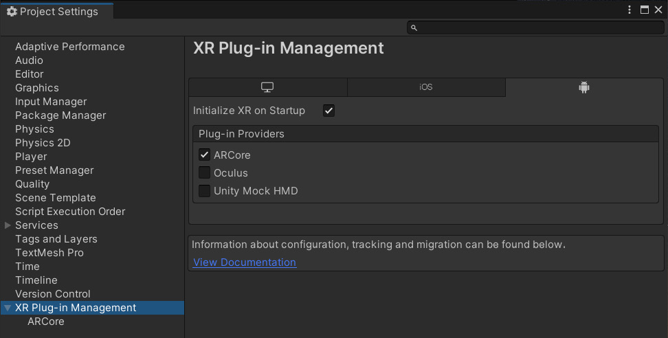 Figure 1.9 – XR Plug-in Management window with the ARCore plugin selected