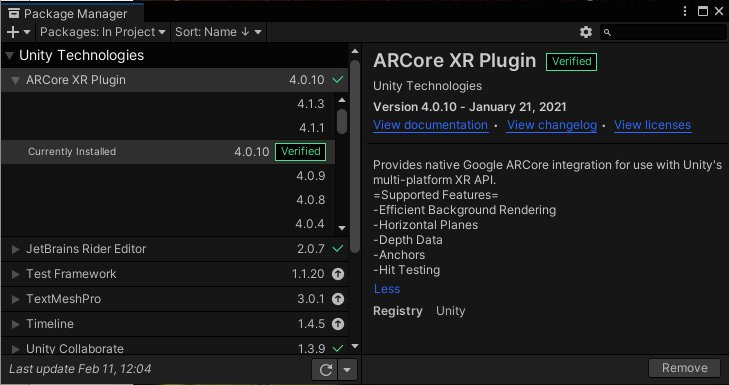 Figure 1.10 – Package Manager with the ARCore XR plugin installed in this project