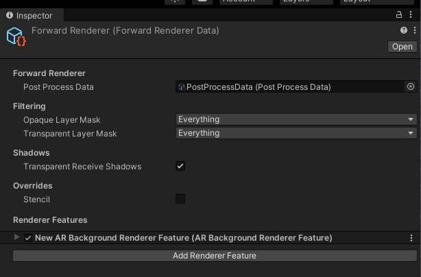 Figure 1.12 – ForwardRenderer data asset with the AR Background Renderer Feature added