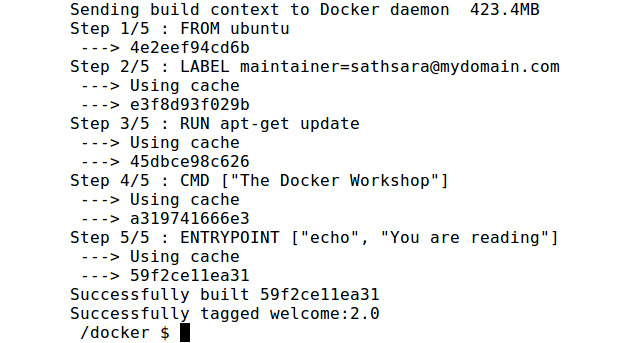 Figure 2.4: Building the welcome:1.0 Docker image using the cache