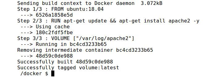Figure 2.9: Building the volume Docker image