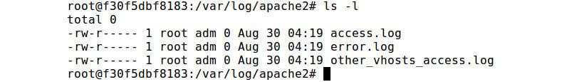 Figure 2.10: Listing files of the /var/log/apache2 directory