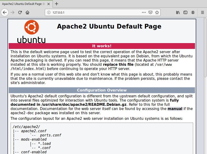 Figure 2.16: Apache home page