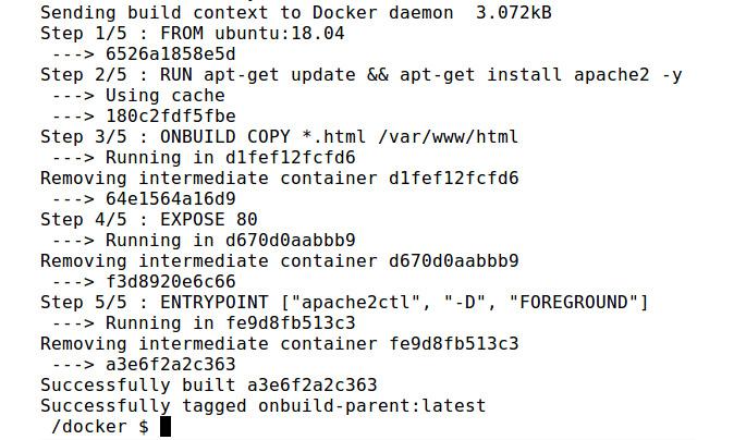 Figure 2.17: Building the onbuild-parent Docker image