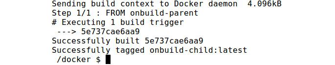 Figure 2.19: Building the onbuild-child Docker image