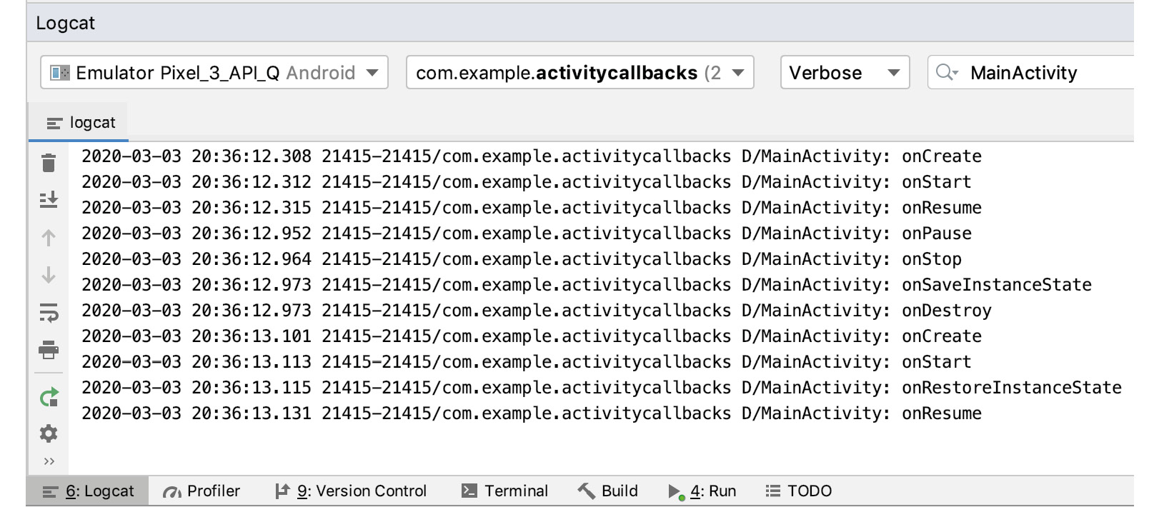 Figure 2.3: Filtering log statements by the TAG name