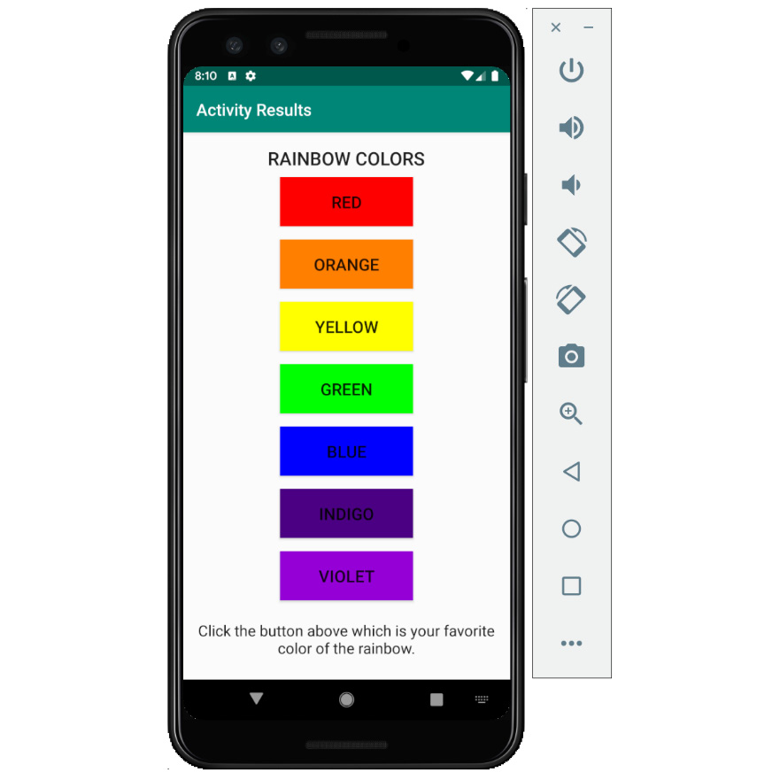 Figure 2.18: The rainbow colors selection screen
