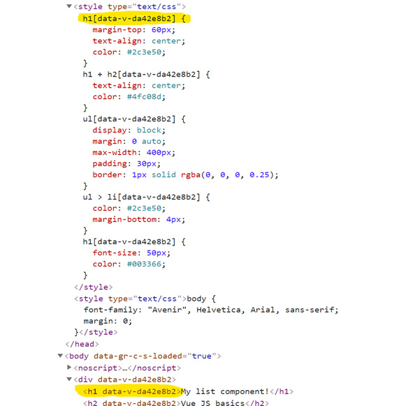 Figure 1.12: Observe how the virtual DOM uses data attributes to assign scoped styles