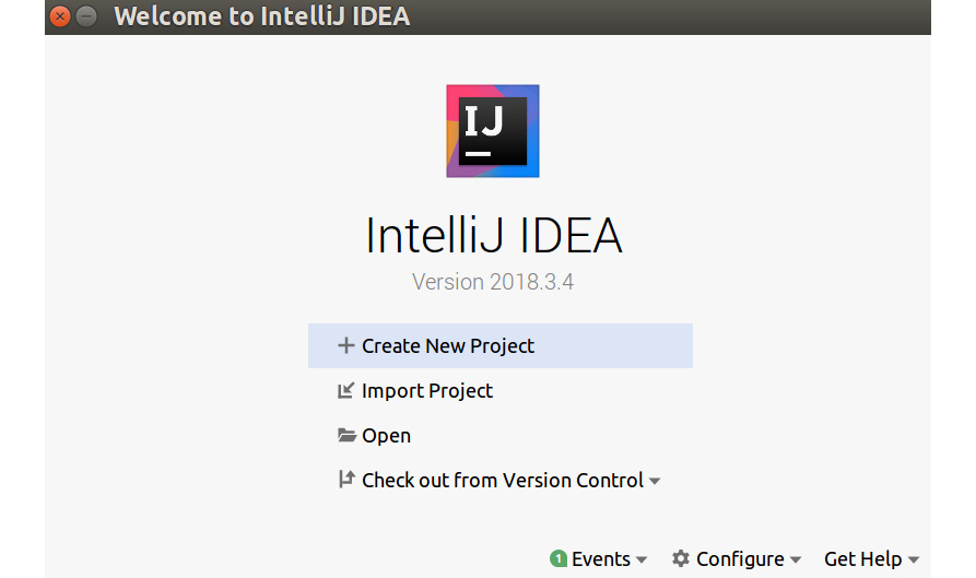 Figure 1.1: Creating a new project on IntelliJ IDE
