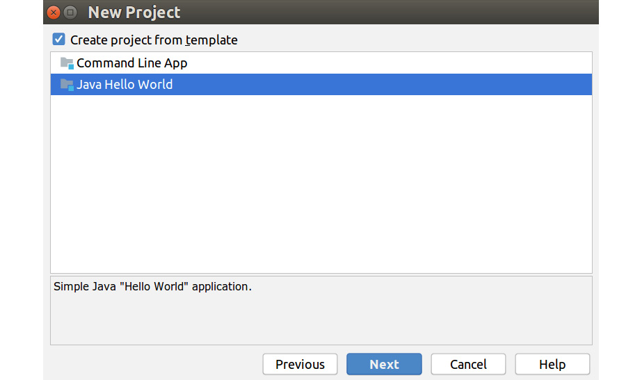 Figure 1.3: Create a Java Hello World project from template