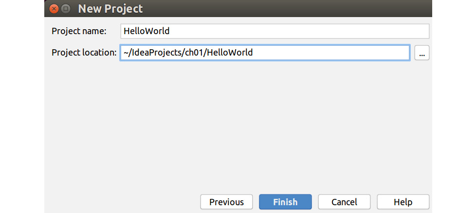 Figure 1.4: Create a Hello World Project