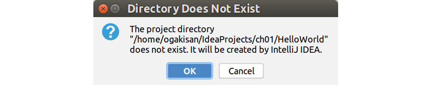 Figure 1.5: Default project folder option on IntelliJ IDE