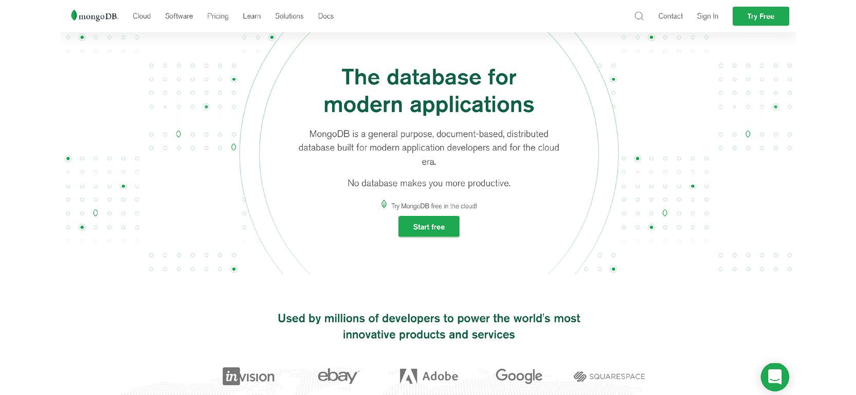 Figure 1.3: MongoDB Atlas home page