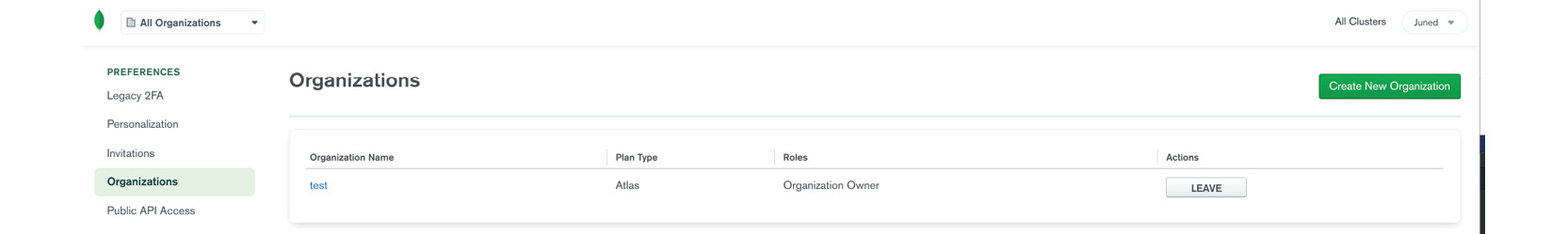Figure 1.8: Organizations list