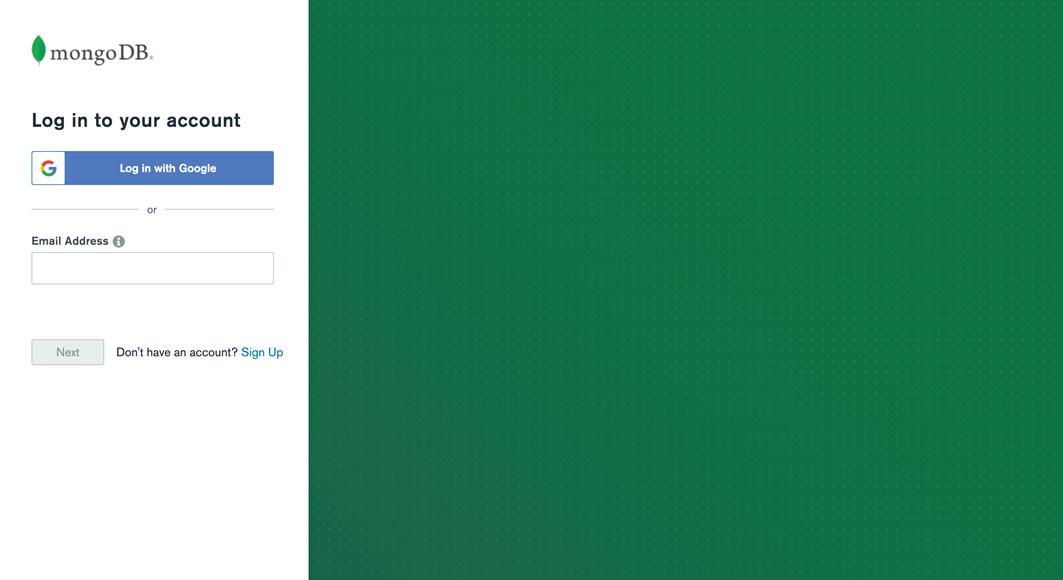 Figure 1.25: MongoDB Atlas login page