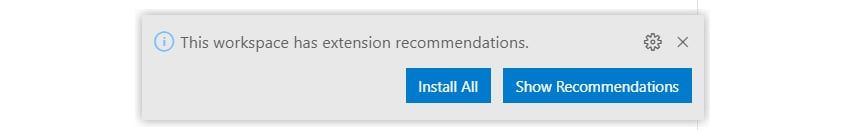 Figure 1.4 – Recommended extensions prompt
