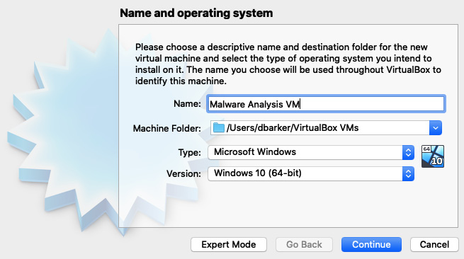 Figure 1.6 – Name your VM and select the proper OS configuration