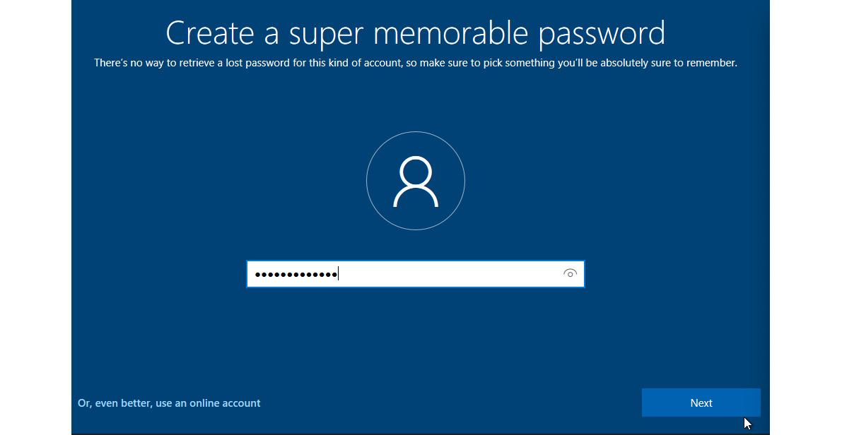 Figure 1.13 – Choose a totally unique password for this VM