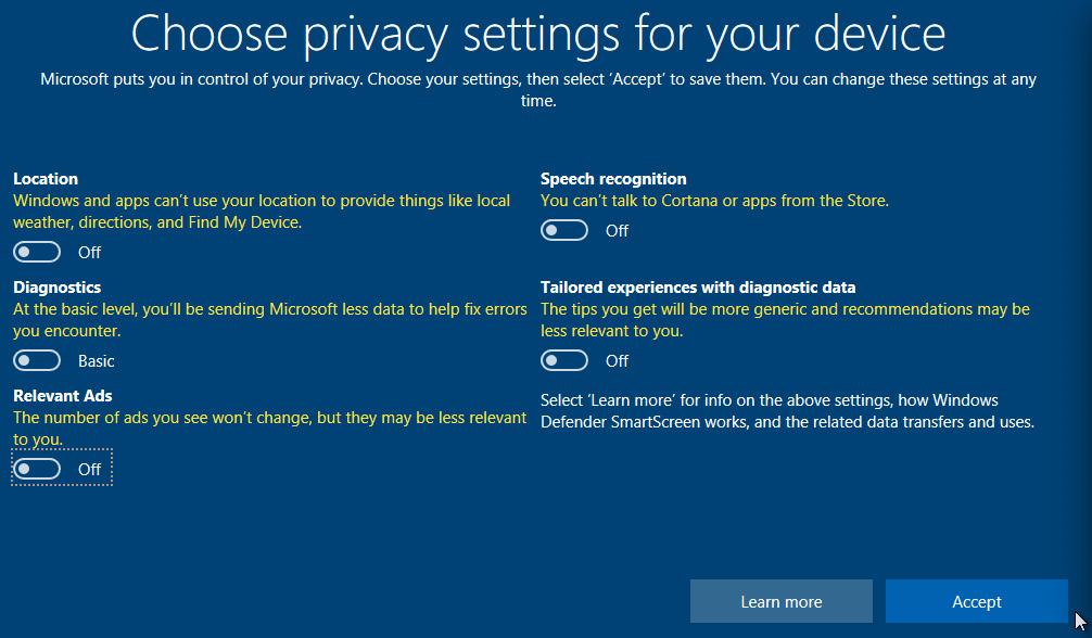 Figure 1.14 – Windows 10's privacy settings