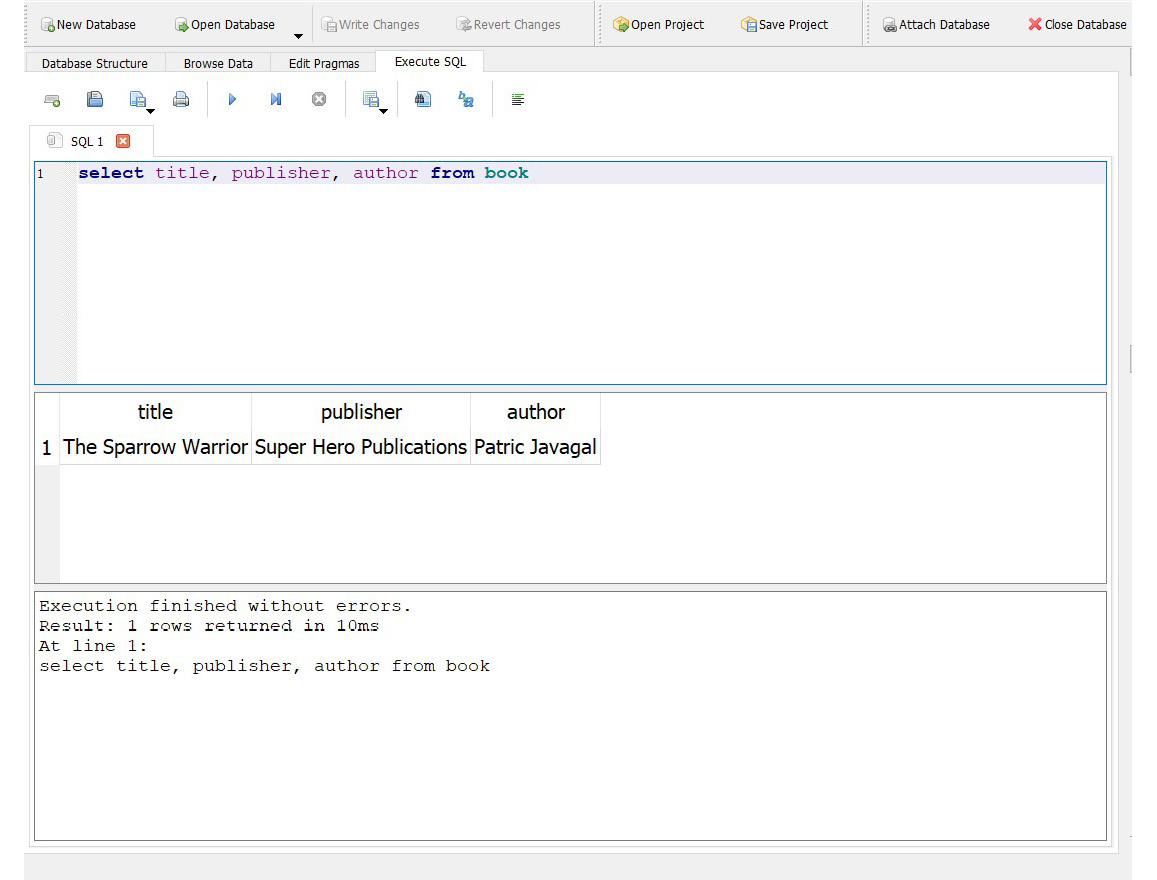 Figure 2.6: Executing SQL queries in DB Browser