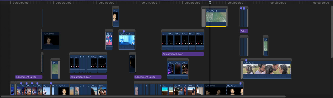 Figure 1.4: Part of the timeline for a music video; your timelines might be simpler, or more complex