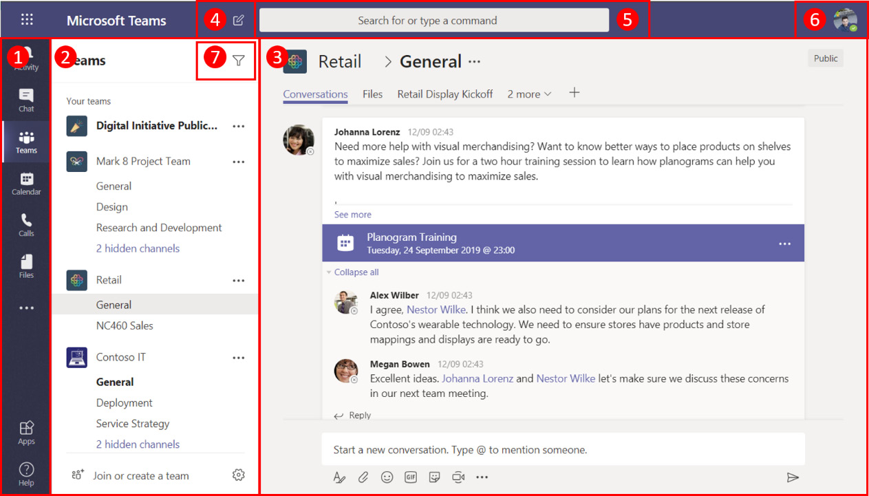 Figure 1.4: Main window of Microsoft Teams
