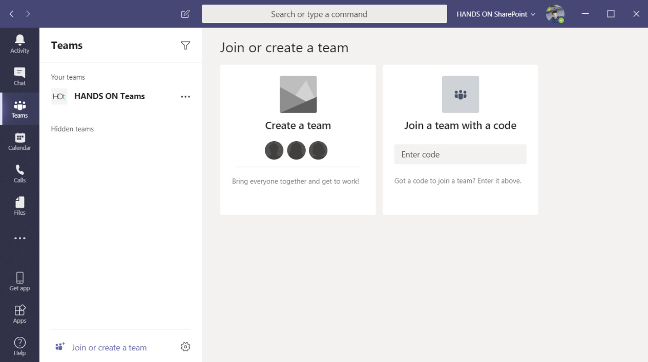 Figure 1.6: Join or create a team