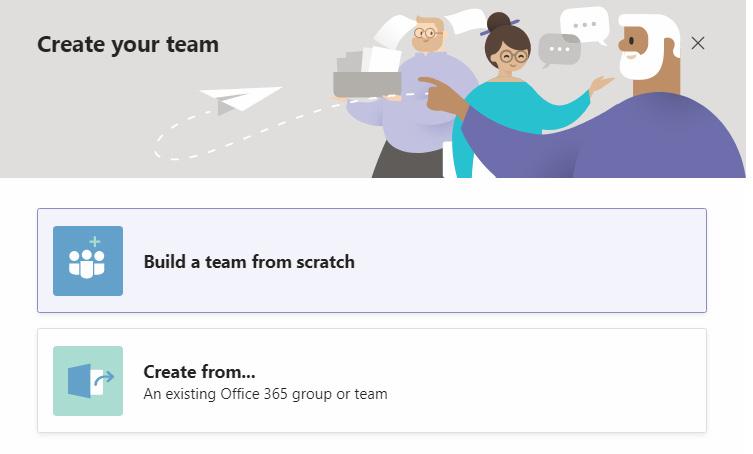 Figure 1.7: Create team options