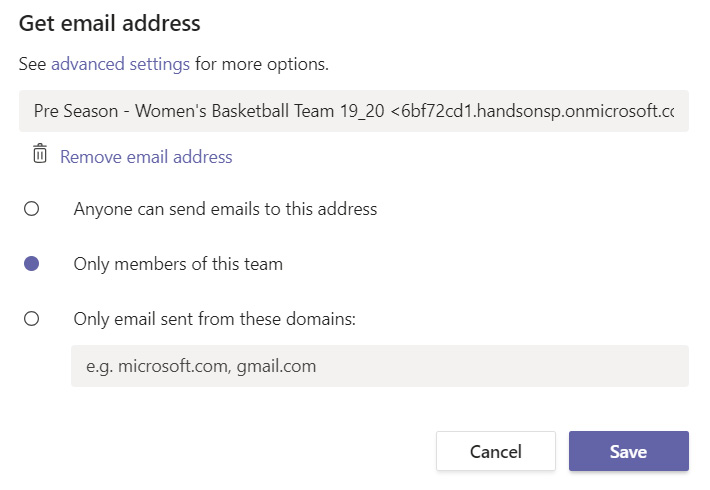 Figure 1.17: Manage email address settings