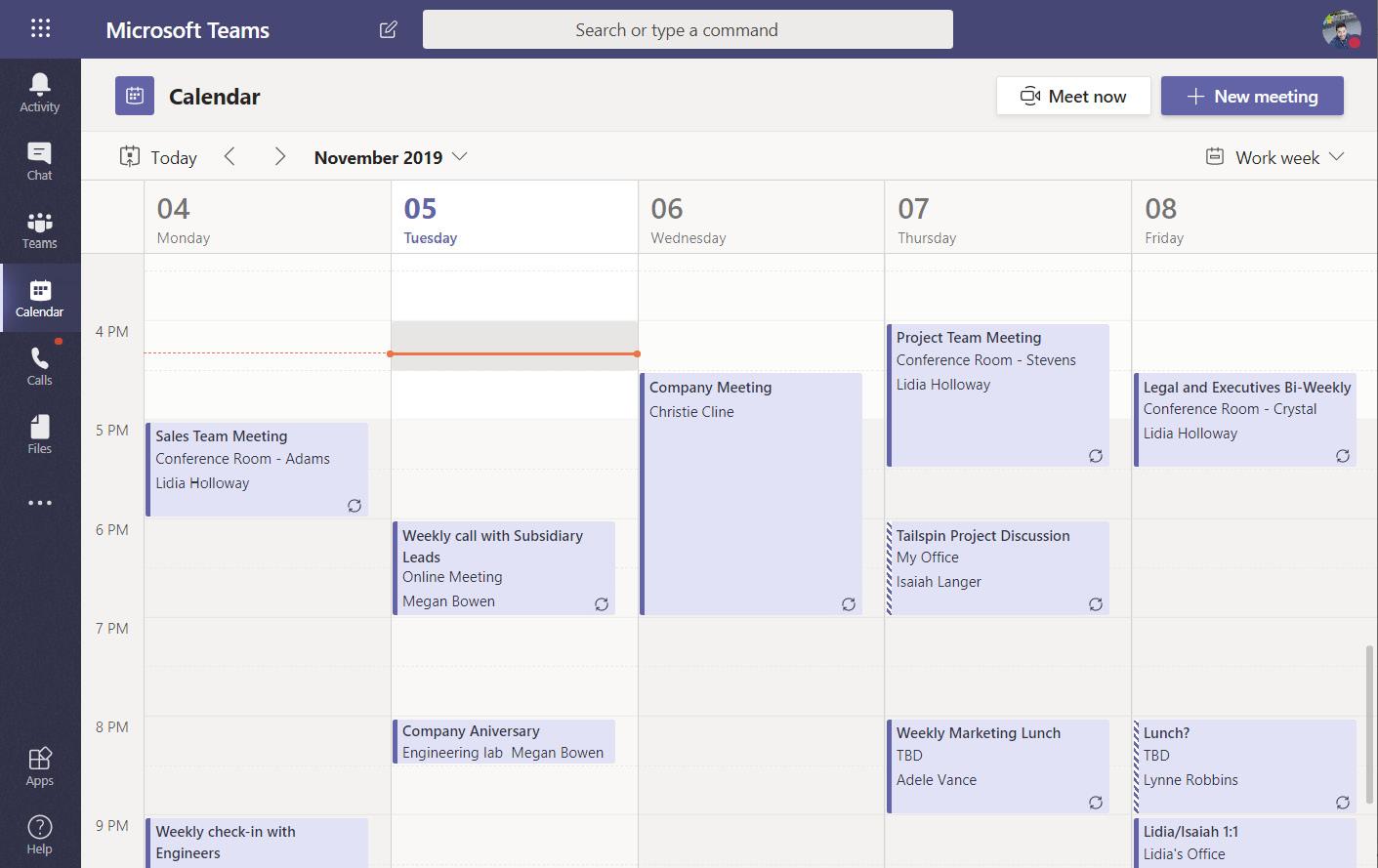 Figure 2.1: Microsoft Teams Calendar