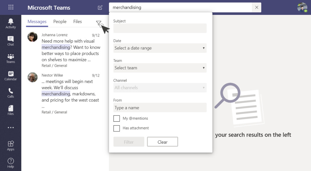 Figure 2.3: Filter search results