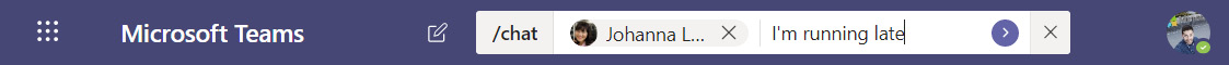 Figure 2.6: Sending a quick chat to a Microsoft Teams user