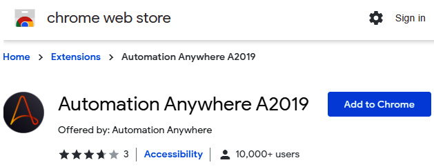 Figure 2.13 – Chrome Web Store Automation Anywhere A2019 extension
