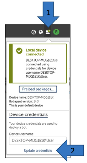 Figure 2.19 – Updating local device credentials